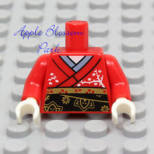 NEW Lego Female RED GEISHA MINIFIG TORSO Girl White Asian Flower Shirt Dress Top