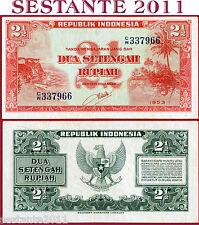 INDONESIA -  2 + 1/2 RUPIAH 1953  - Prefix CW  - P 41 -  SPL / XF