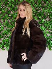 REAL NEW MINK FUR COAT JACKET BROWN SAGA MEXA NERZMANTEL FOX SABLE CHINCHILLA