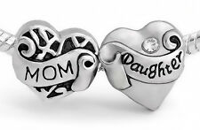Mother Daughter Family Love Hearts Silver Charm Mom Beads Fit European Bracelet