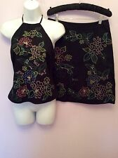 FRENCH CONNECTION BLACK EMBROIDERED STRAPPY TOP & SKIRT SUIT SIZE 10