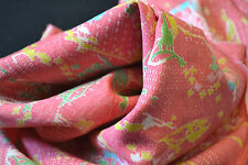 Japanese Wool fabric Pink Yellow Green Blue Forests and flowers 986