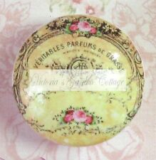 FRENCH ROSES PERFUME BOTTLE  words Ceramic Knob cabinet Drawer Pull script
