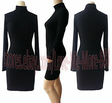 NEW Womens Basic Turn-down Turtle NECK Casual LONG sleeves LONG top Tunic DRESS