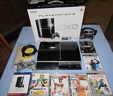 PlayStation 3 - 80 GB Piano Black Console (CECH-L01)- BUNDLE with 6 games! LOT