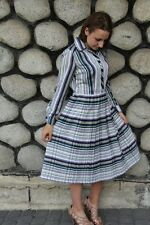 vintage 80s striped buttons front white blue green pleated dress size 12-14