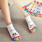 Lady Woman Girl Smile Five Fingers Trainer Toe Ankle Sport Socks Colors JC