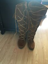 Minnetonka Womens 1422 Brown Suede Front Lace Hardsole Knee Hi Fringe Boots 5M