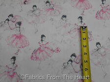 Pink Ballet Ballerina Dancers on White BY YARDS Timeless Treasure Cotton Fabric