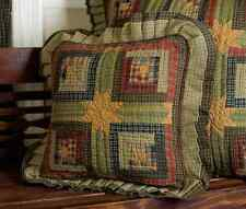 TEA CABIN 5pc Queen QUILT SET : PRIMITIVE GREEN RED STAR AMERICAN RUSTIC VHC