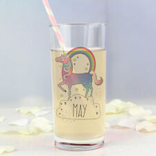 Personalised Pink Rainbow UNICORN Hi Ball Tall Glass Gift For Her