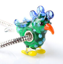 1pcs SILVER MURANO GLASS BEAD LAMPWORK Animal fit European Charm Bracelet ZZ289