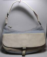 JIL SANDER Light Blue canvas & cream suede shoulder hobo tote handbag Needs TLC!