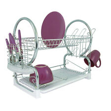 PREMIER HOUSEWARE SELF ASSEMBLY TWO TIER CHROME WHITE KITCHEN SINK DISH DRAINER