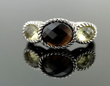 Judith Ripka Smoky Quartz & Mint Quartz Sterling Silver Ring sz 8