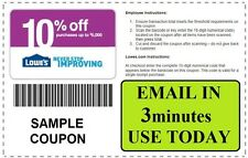 THREE (X3) LOWES 10% off PROMOTION In Store Online FAST EMAIL- 8-15-2015