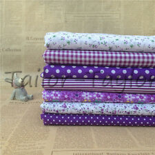 7pcs/Set Purple Floral Pattern Patchwork Quilting Sewing Cloth Cotton Fabric
