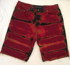 vintage GUESS JEANS Red Tie Dye Cutoffs Denim Jean Shorts Mens asap 40 Rocky