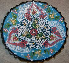 "Light & Dark Blue 7"" Turkish Iznik Floral Pattern Handmade Raised Ceramic Plate"