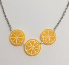 Triple Orange Slice Fruit Pendant Necklace  Kitch Silver Coloured Small G017