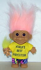 """RUSS  4"""" TROLL DOLL  WORLD'S BEST BABYSITTER COMPLETE WITH BABY! EXCELLENT COND."""