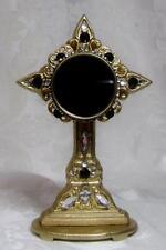 Gold Cast Iron Cross Reliquary-Black & Clear Gems-Black Velvet-Filigree-NICE!