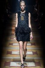 =SUPER CHIC= LANVIN Runway Black Fringe Ostrich Feather Silk Women's Dress US6
