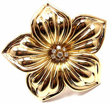Rare! Authentic Van Cleef & Arpels 18k Yellow Gold Diamond Large Flower Brooch