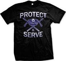 Protect & Serve- Police Hat and Night Sticks- Police Supporters- PD Mens T-shirt