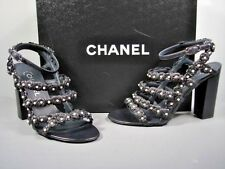 Chanel Dark Navy Lambskin Strappy Camellia Pearls Sandals Shoes Heels 37 New