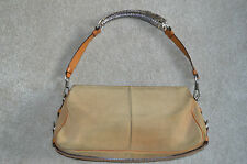 Yves Saint Laurent Beige Tan Suede Leather Mombosa Horn Shoulder Handbag