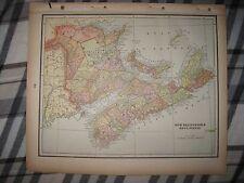ANTIQUE 1893 NEW BRUNSWICK NOVA SCOTIA & QUEBEC ONTARIO CANADA LITHOGRAPH MAP NR