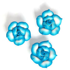 30pcs Blue&White Colorful Rose Flower Shape FIMO Polymer Clay Spacer Beads DIY D