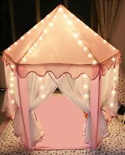 Pink Princess Castle Kids Play Tent Children Playhouse Indoor w LED Star Lights
