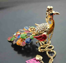 H609     Betsey Johnson Crystal Enamel Peacock Pendant Sweater Chain Necklace