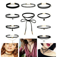 10PCS/Set Women Gothic Black Velvet Retro Polo Collar Choker Necklace Jewelry