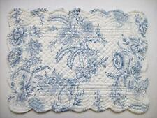 C&F Dusk Blue and White Toile Floral Quilted Cotton Placemat