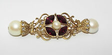 1928 red clear Rhinestone faux pearl BROOCH pin costume jewelry bar type