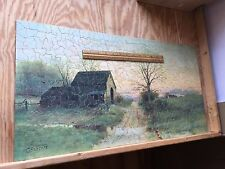 "Antique C1909 Wooden Jigsaw Puzzle ""Old Barn at Twilight View"" Lg 559pc Lamasure"