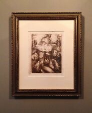 Etching male nude, unsigned, framed