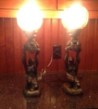 Pair OF Cast Metal Art Deco Hood Figure Lamp Lady W/ Amber Glass Shades Era