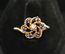 Wonderful Sapphire Diamond .28tcw Vintage Solid 10K Yellow Gold Ring Size 6.5
