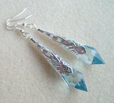 Art Deco Light Blue Faceted Teardrop Silver Filigree Drop Earrings in Gift Bag