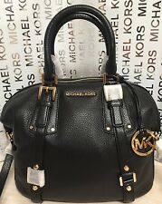 NEW Michael Kors Medium Bedford Belted Gold Black Leather Satchel Handbag $398