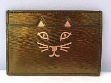 Charlotte Olympia Feline Kitty Cat Leather Cardholder in Plantation Green w/ Box