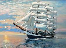 """New 16x20"""" Sailing Ship Digital Oil Painting Hand Painted By Number DIY Kit I9P3"""