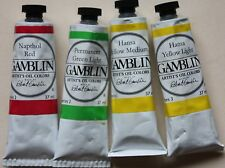 4 Gamblin Oil Paint's 2 HANSA YELLOW'S, PERMANENT GREEN LIGHT & NAPTHOL RED-37ml