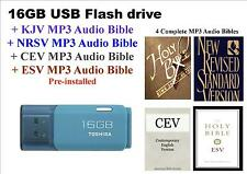 16GB USB Flash Drive +KJV+NRSV+CEV+ESV MP3 Audio Bibles Pre-installed: FREE P&P
