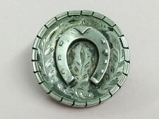 ANTIQUE SILVER FRONTED LUCKY HORSESHOE BROOCH PIN 1880
