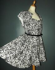 PRASLIN  ROBE DRESS RETRO FIFTIES CEINTUREE PANNE DE VELOURS  T UK 22 OU 50/52